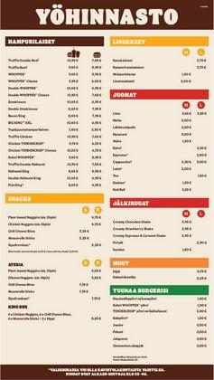 Burger King luettelo, ( Yli 30 päivää)