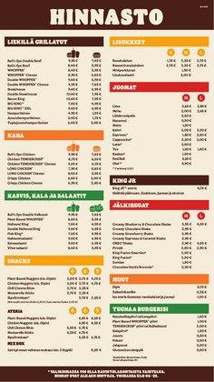 Tarjouksia yritykseltä Ravintolat kaupungissa Burger King lehtisiä ( 4 päivää jäljellä)