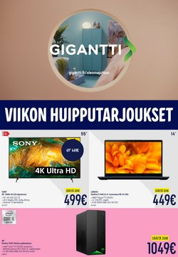 Tarjouksia yritykseltä Elektroniikka ja Kodinkoneet kaupungissa Gigantti lehtisiä ( Julkaistu eilen)