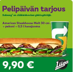 Ravintolat tarjoukset Subway kuvastossa Helsinki