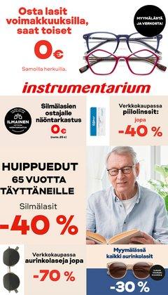 Tarjouksia yritykseltä Terveys ja Optiikka kaupungissa Instrumentarium lehtisiä ( Vanhenee pian)