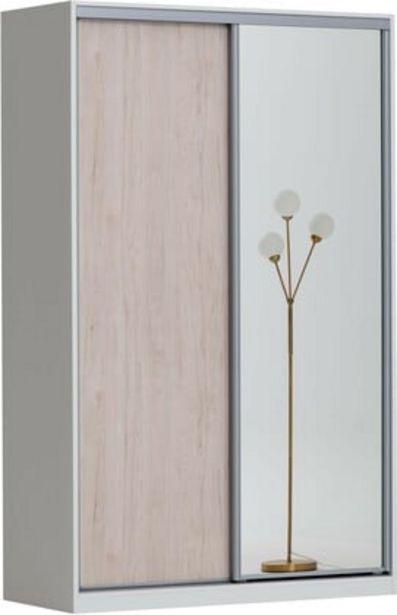 Doorit liukuovikomero 150x45cm, valkoinen runko, levyovi tammi + peiliovi -tarjous hintaan 530€