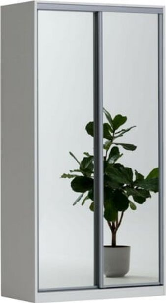 Doorit liukuovikomero 120x45cm, valkoinen runko, peiliovet -tarjous hintaan 549€