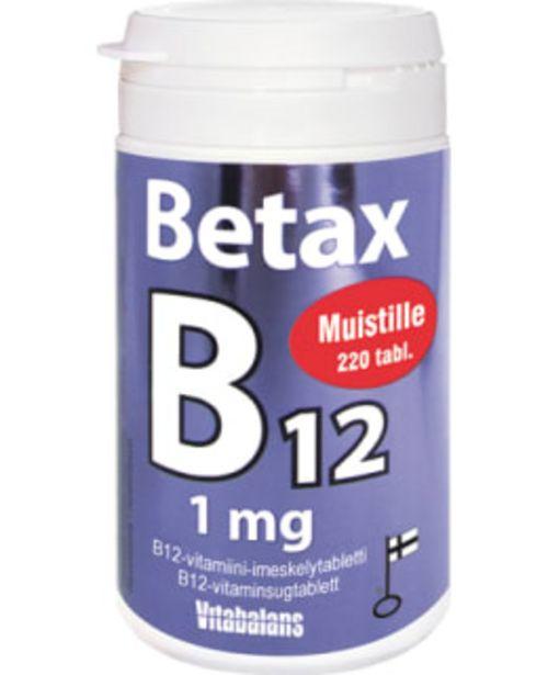 Betax B12 1mg 220 Tablettia Ravintolisä -tarjous hintaan 10,9€