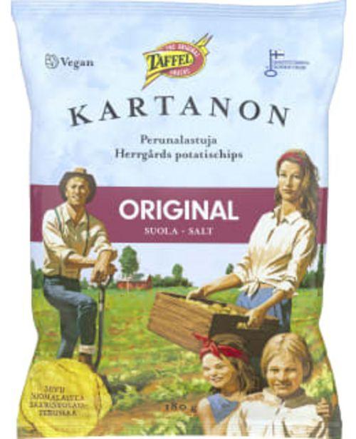 Taffel Kartanon Original 180 G Suolattu Perunalastu -tarjous hintaan 2,9€