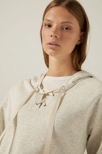Organic cotton lace-up neck sweatshirt -tarjous hintaan 19,99€