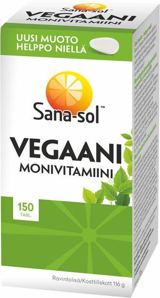 Sana-sol Vegaani Monivitamiini, 150 tabl -tarjous hintaan 10,9€