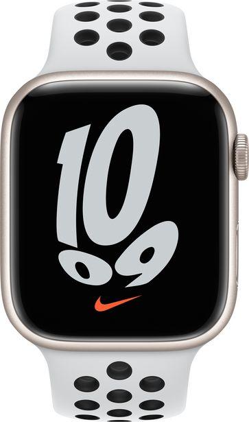 Apple Watch 45 mm Pure Platinum/musta Nike Sport -ranneke -tarjous hintaan 48,9€